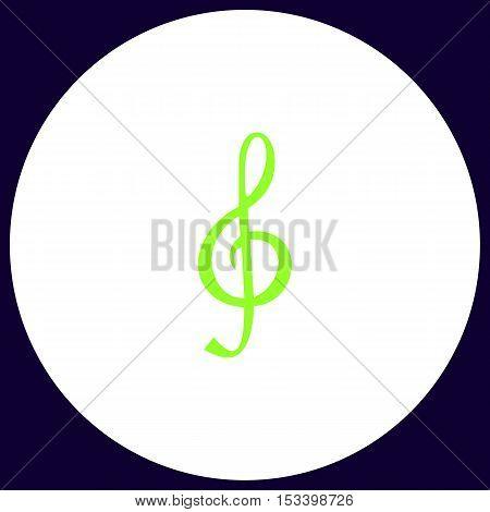 clef Simple vector button. Illustration symbol. Color flat icon