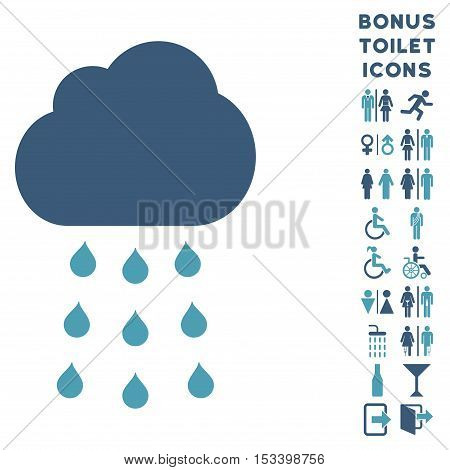 Rain Cloud icon and bonus gentleman and woman lavatory symbols. Vector illustration style is flat iconic bicolor symbols, cyan and blue colors, white background.
