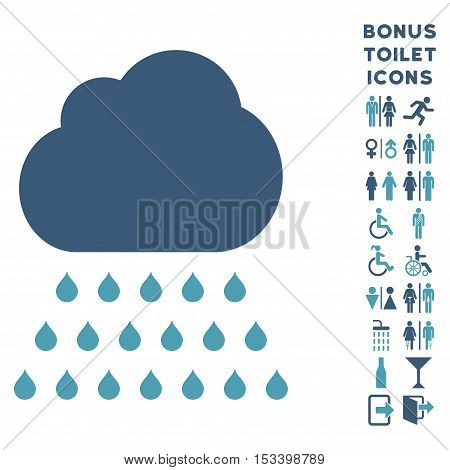 Rain Cloud icon and bonus man and female toilet symbols. Vector illustration style is flat iconic bicolor symbols, cyan and blue colors, white background.