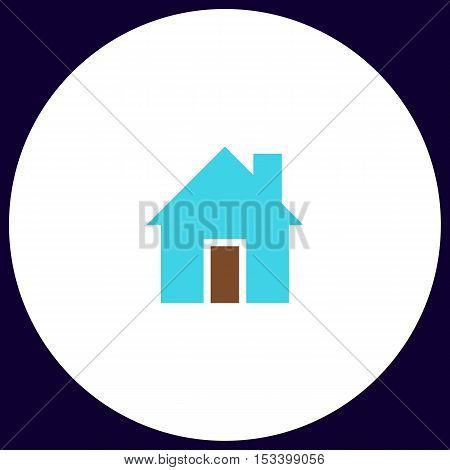 house Simple vector button. Illustration symbol. Color flat icon