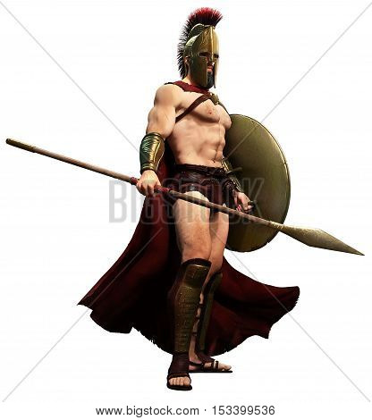 Spartan warrior with shield and spear 3D illustration