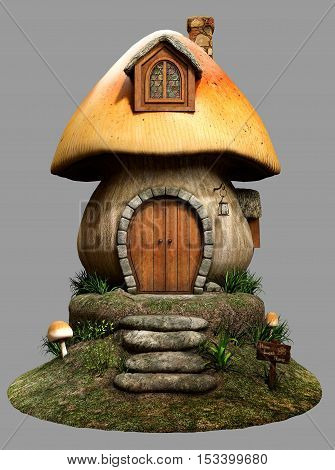 Fairy mushroom house with welcome sign 3D illustration