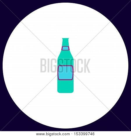 Glass Beer Simple vector button. Illustration symbol. Color flat icon