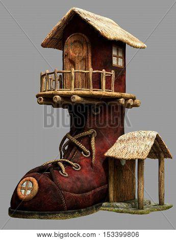 Fairy boot house with doors 3D illustration