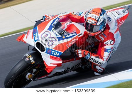 MELBOURNE AUSTRALIA – OCTOBER 23: Andrea Dovizioso (ITA) riding the #4 Ducati Racing Team's Ducati during the 2016 Michelin Australian Motorcycle Grand Prix at 2106 Michelin Australian Motorcycle Grand Prix Australia on October 23 2016.