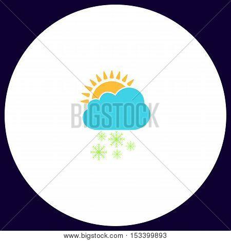 Cloud snow Simple vector button. Illustration symbol. Color flat icon