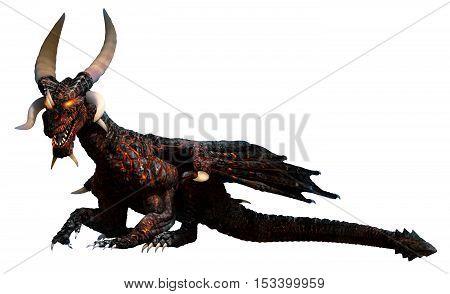 Lava dragon with large horns at rest 3D illustration