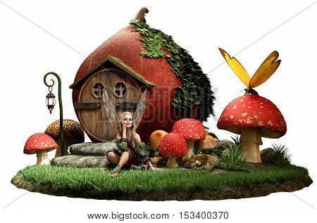 Fairy and house with mushrooms 3D illustration