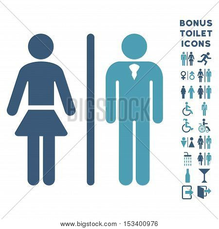 Toilet Persons icon and bonus man and lady lavatory symbols. Vector illustration style is flat iconic bicolor symbols, cyan and blue colors, white background.
