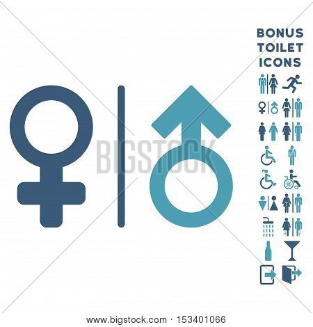 WC Gender Symbols icon and bonus male and female WC symbols. Vector illustration style is flat iconic bicolor symbols, cyan and blue colors, white background.