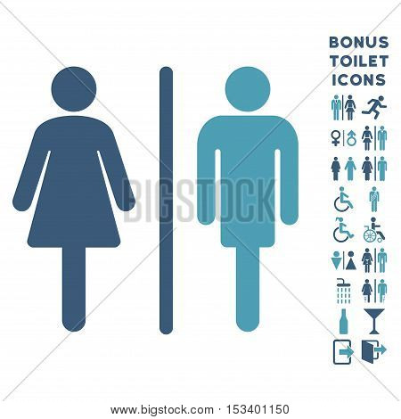 WC Persons icon and bonus male and lady lavatory symbols. Vector illustration style is flat iconic bicolor symbols, cyan and blue colors, white background.