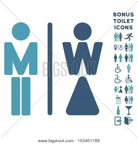 WC Persons icon and bonus gentleman and lady lavatory symbols. Vector illustration style is flat iconic bicolor symbols, cyan and blue colors, white background.