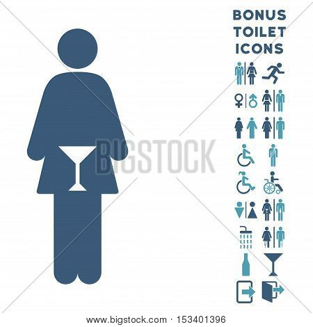 WC Woman icon and bonus gentleman and woman restroom symbols. Vector illustration style is flat iconic bicolor symbols, cyan and blue colors, white background.