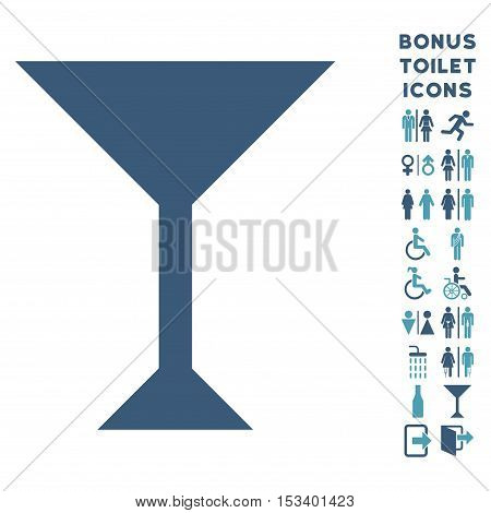 Wine Glass icon and bonus male and lady restroom symbols. Vector illustration style is flat iconic bicolor symbols, cyan and blue colors, white background.