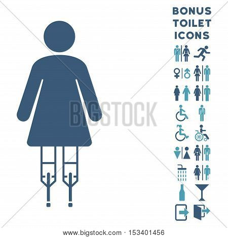 Woman Crutches icon and bonus male and lady lavatory symbols. Vector illustration style is flat iconic bicolor symbols, cyan and blue colors, white background.