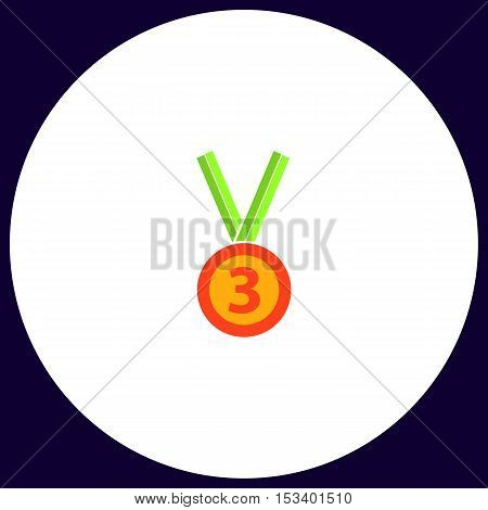 bronze medal Simple vector button. Illustration symbol. Color flat icon
