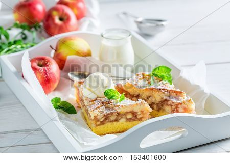 Sweet Apple Pie And Ice Cream With Mint Leaves