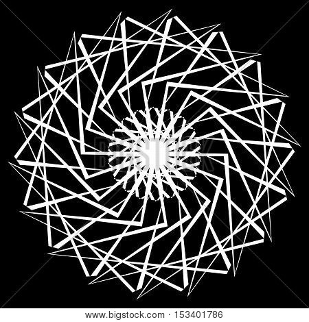 Geometric Spiral Element On White. Abstract Monochrome Motif