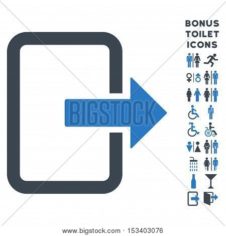 Exit Door icon and bonus gentleman and lady lavatory symbols. Vector illustration style is flat iconic bicolor symbols, smooth blue colors, white background.