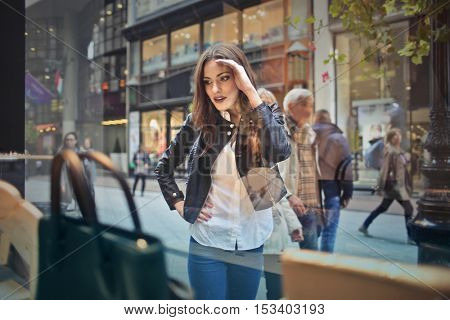 Young lady doing shopping
