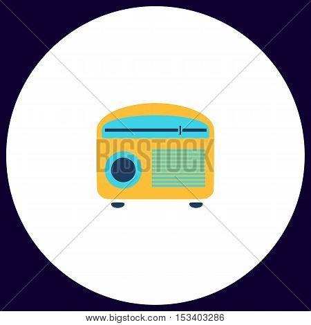 retro radio Simple vector button. Illustration symbol. Color flat icon