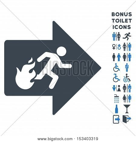 Fire Exit icon and bonus male and woman restroom symbols. Vector illustration style is flat iconic bicolor symbols, smooth blue colors, white background.