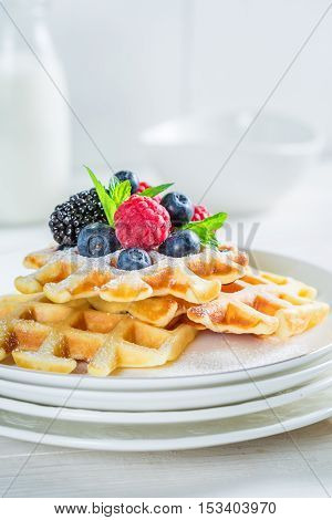 Fresh Berries With Waffels And Mint Leaves