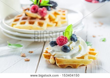 Homemade Waffels With Berry Fruits And Mint Leaves