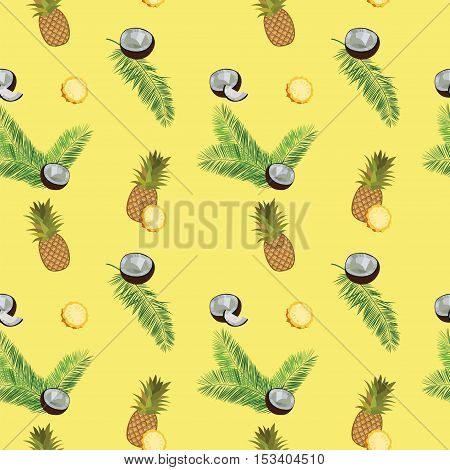 Yellow vector pineapple seamless  pattern. Pineapple, coconut, palm leaves seamless vector pattern on yellow background. Pineapple illustration with coconut and palm leaves.