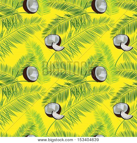 Yellow vector coconut seamless  pattern. Coconut, palm leaves seamless vector pattern on yellow background. Tropic hawaiian print illustration with coconut and palm leaves.