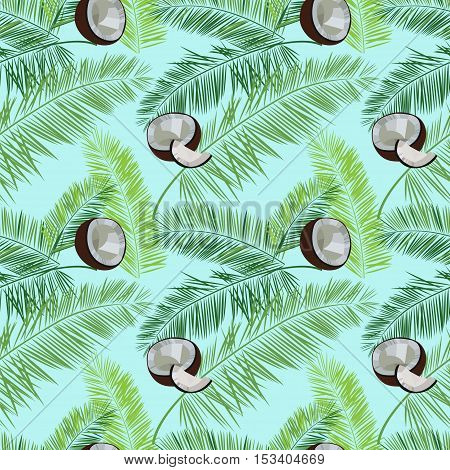 Blue vector coconut seamless  pattern. Coconut, palm leaves seamless vector pattern on blue background. Tropic hawaiian print illustration with coconut and palm leaves.