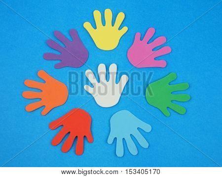 Colorful hand blue background