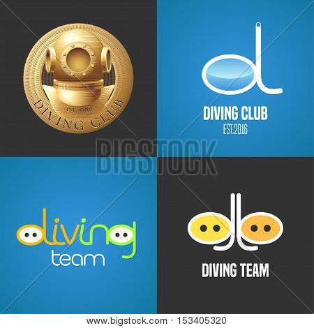 Set of diving, snorkeling vector icons, sign, symbol, emblem, logo. Graphic design elements with golden trophy, snorkel tune for diving club, competition, studying