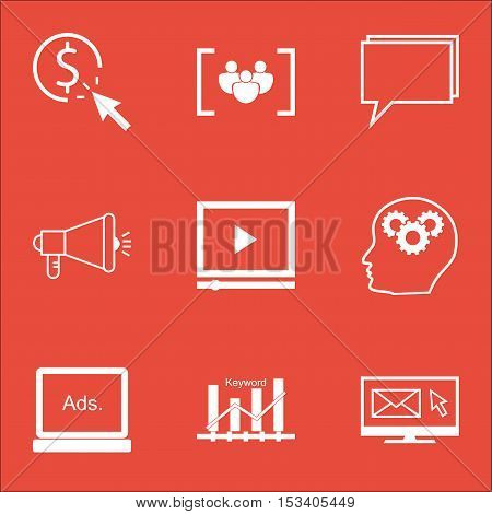 Set Of Seo Icons On Video Player, Digital Media And Ppc Topics. Editable Vector Illustration. Includ