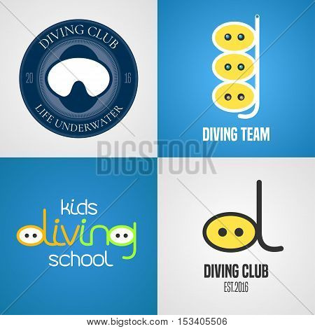 Set of diving, snorkeling vector icons, sign, symbol, emblem, logo. Graphic design elements with snorkel tune, mask for diving club