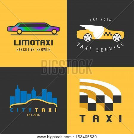 Taxi, cab set of vector logo, icon. Car hire black and yellow background, badge, taxi app emblem. Car and city, limo taxi design elements