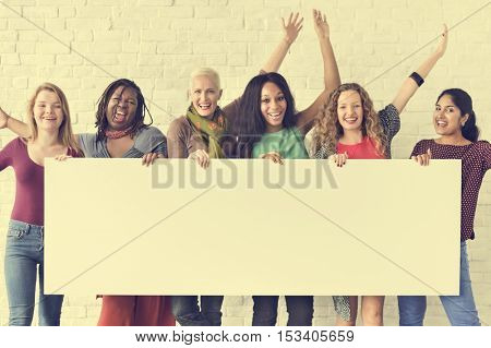 Girls Friendship Arms Raised Celebration Happiness Copy Space Banner Concept