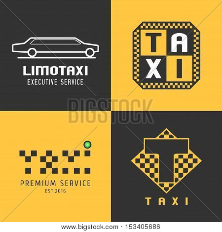 Taxi, cab set of vector logo, design. Car hire black and yellow background, badge, app emblem. Silhouette of car and taxi graphic icon, element, symbol