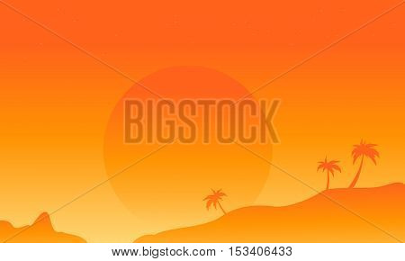 Silhouette of field vector flat collection stock