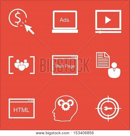 Set Of Advertising Icons On Ppc, Report And Coding Topics. Editable Vector Illustration. Includes Ht