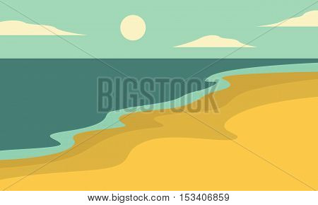 Beach landscape of silhouettes vector collection stock