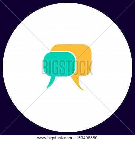 Quote text bubble Simple vector button. Illustration symbol. Color flat icon