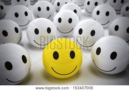 3D Rendering yellow ball with smile face among so many white smiling balls. happy leader supports his team