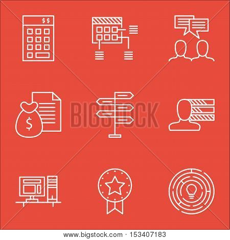 Set Of Project Management Icons On Report, Opportunity And Personal Skills Topics. Editable Vector I