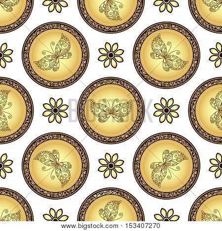 Gold and browne seamless pattern with gradient vintage circles with butterflies vector