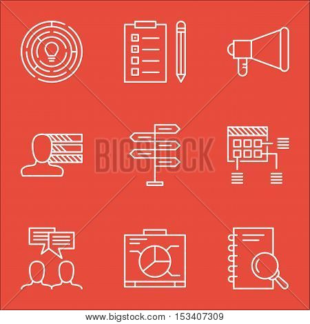 Set Of Project Management Icons On Analysis, Personal Skills And Discussion Topics. Editable Vector