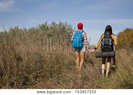 Two ladies with backpacks walking at sunny day in forest