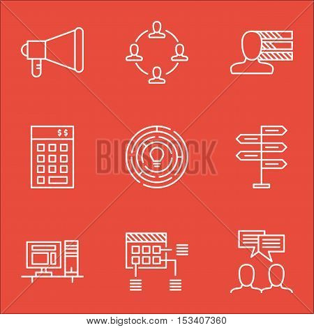 Set Of Project Management Icons On Discussion, Schedule And Announcement Topics. Editable Vector Ill