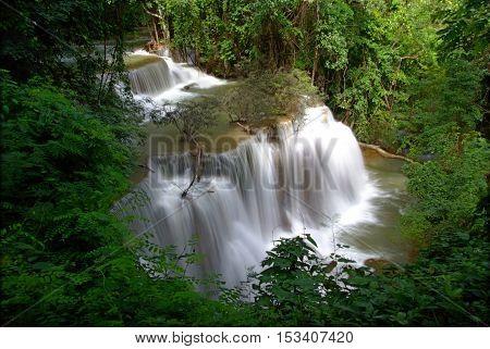 Fourth floor of Huay Mae Kamin Waterfall Khuean Srinagarindra National Park Kanchanaburi Thailand