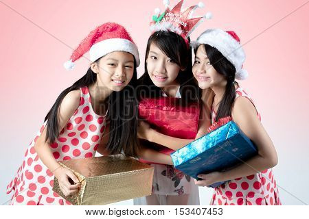 Happy children with gifts Christmas and new year event